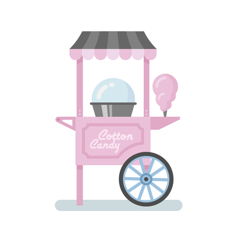 Cotton candy machine flat illustration Ilustrace