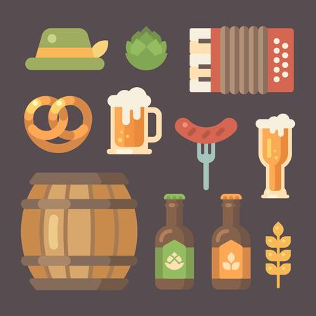 pretzel: Set of flat Oktoberfest icons, Beer festival icons on dark background with illustration of Barrel, accordion, sausage on a fork, beer mug, beer bottle, hop, hat, pretzel, wheat Illustration
