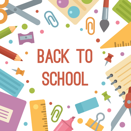 Back to school, stationery flat icons banner. Scissors, paintbrush, copybook, notepad, pins, pencils, ruler, pencil sharpener, paints, plasticine, marker, eraser, clip, compass, triangle