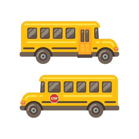 Gele zijaanzicht vlakke illustratie van schoolbus op witte achtergrond