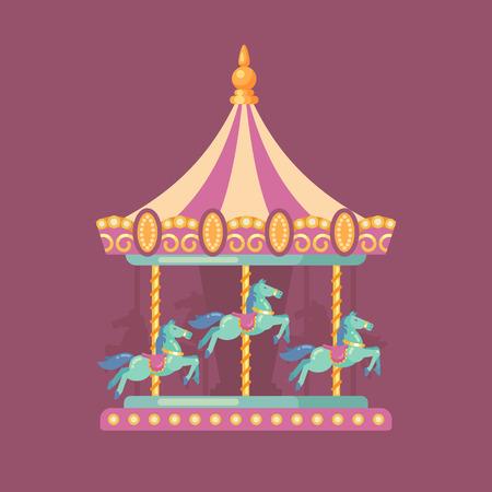 遊園地カーニバルフラットイラスト。夜の馬とピンクと黄色のカルーセルのアミューズメントパークのイラスト  イラスト・ベクター素材