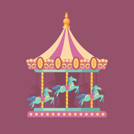 Funfair carnival flat illustration. Amusement park illustration of a pink and yellow carousel with horses at night Illustration