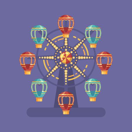 Illustrazione piana di carnevale della luna park. Illustrazione del parco di divertimenti con una ruota panoramica alla notte su fondo blu Archivio Fotografico - 86176639
