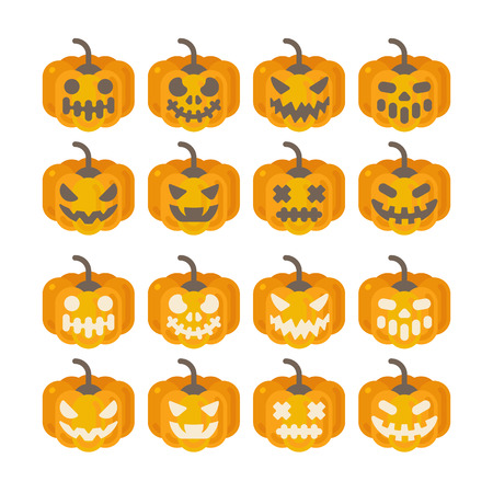 Set of Halloween pumpkin icons. Halloween flat illustration of jack-o-lanterns in dark and light version Illustration