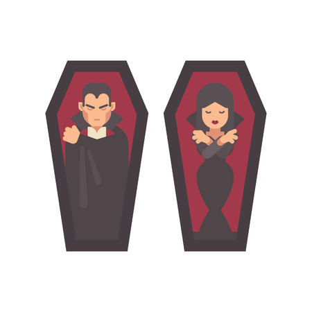Two vampires sleeping in coffins. Man in a black cape, girl in a gothic dress. Halloween character flat illustration Vetores