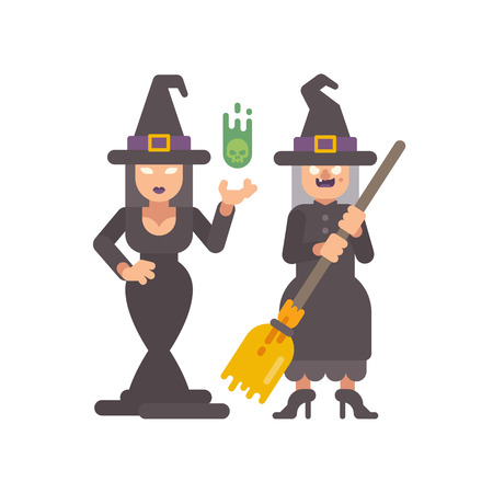 Two witches in pointy hats. Young witch casting a spell. Old hag with a broomstick. Halloween character flat illustration