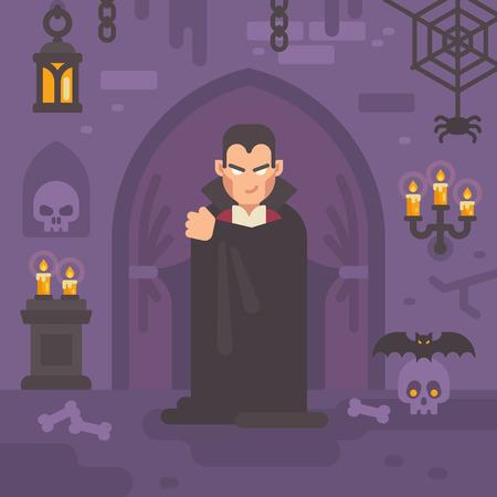 Vampire in a dark crypt with skulls and bats. Trick or treat. Halloween flat illustration Векторная Иллюстрация