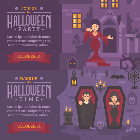 Two horizontal holiday banners with text. Join us for Halloween party. Ilustrace