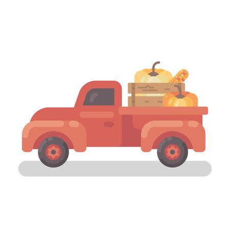 Vieux camion de ferme rouge avec illustration plat de citrouilles