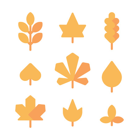 Set of yellow autumn leaves flat icons Illustration
