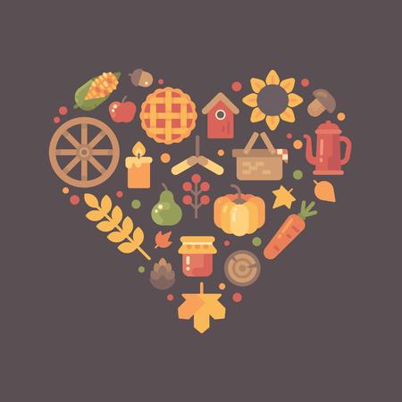 Flat autumn icons arranged into heart shape. Colorful fall item set Illustration
