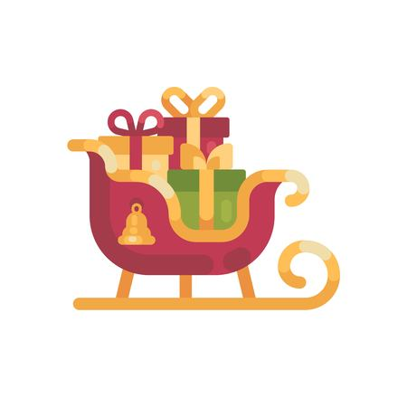 Santas sleigh with presents. Christmas flat illustration