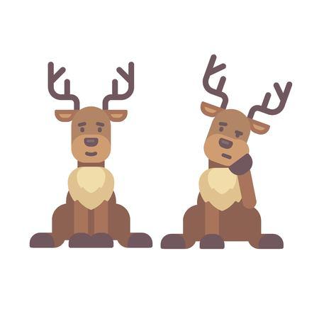 Cute deer sitting down. Christmas character flat illustration. Reindeer tired after work Illustration