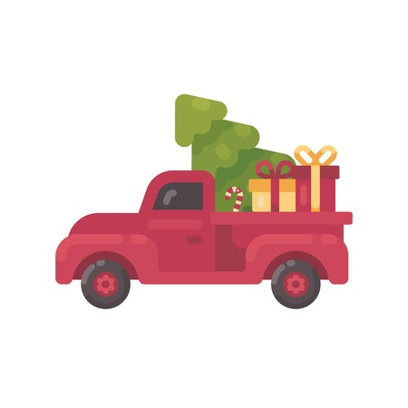 Old red truck with Christmas tree and presents