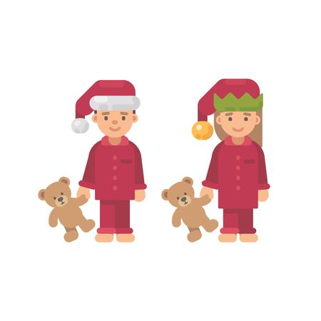 Two children in Christmas hats and red pajamas holding teddy bears Vectores