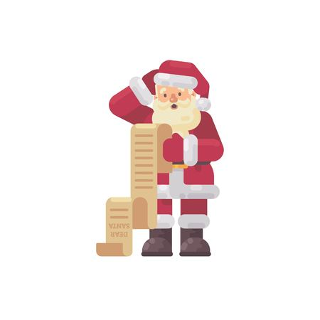 Confused Santa Claus reading a kids letter. Christmas character flat illustration