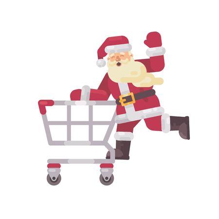 Santa Claus riding a shopping cart. Happy Christmas character flat illustration