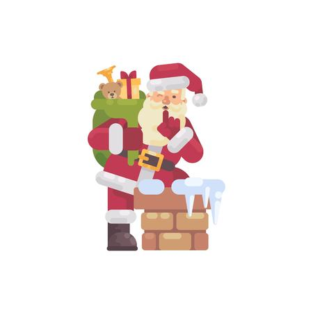 Santa Claus climbing into the chimney with a bag of presents. Christmas character flat illustration