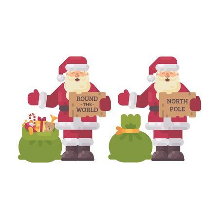 Santa Claus hitchhiking on Christmas night. Holiday character flat illustration