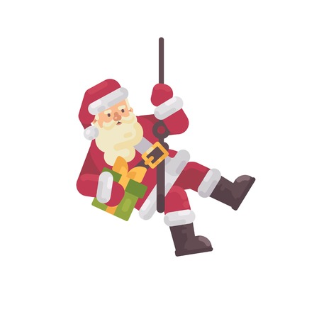 Santa Claus rappelling with a present in hand. Santa climbing down the chimney. Christmas character flat illustration