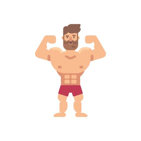 Young muscular bearded man flat illustration. Fitness flat character.