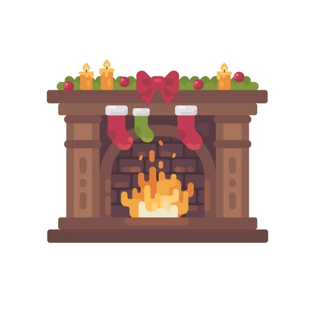 Decorated Christmas fireplace with stockings for presents flat illustration.