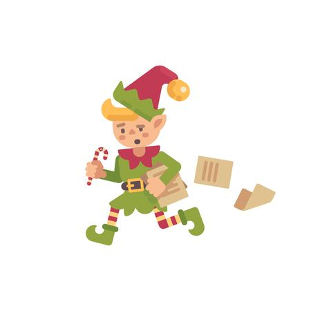 Cute busy Christmas elf running with papers and letters. Santa Claus elf flat holiday character illustration