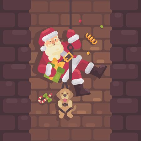 Santa Claus rappelling down the chimney with a dog and a present in hand. Christmas flat illustration Illustration