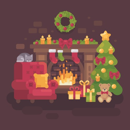 Cozy decorated Christmas room with a fireplace, a red armchair, a Christmas tree with presents and a sleeping cat. Holiday flat illustration Vectores