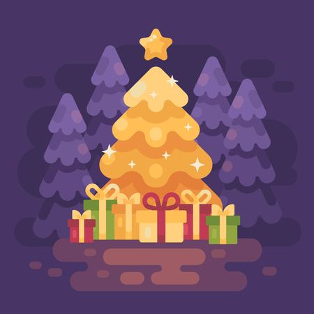 A big bright shinning Christmas tree with presents in  a night forest. Christmas magic flat illustration