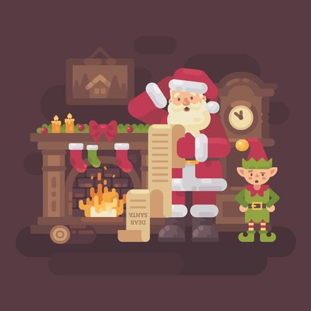 Confused Santa Claus and elf reading a very long kids letter in a cozy room with a fireplace and grandfather clock. Christmas flat illustration