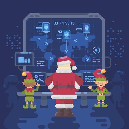 サンタ クロースといたずらとニースの子供世界のインタラクティブ マップで大画面を見てサンタさんのコントロール ルームで彼のエルフ。クリス  イラスト・ベクター素材