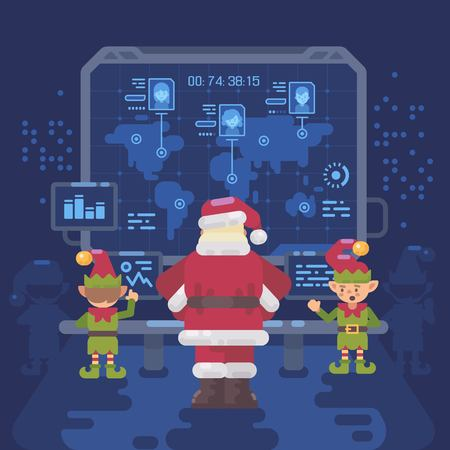 Santa Claus and his elves at Santas control room looking at a big screen with interactive map of naughty and nice children around the world. Christmas flat illustration