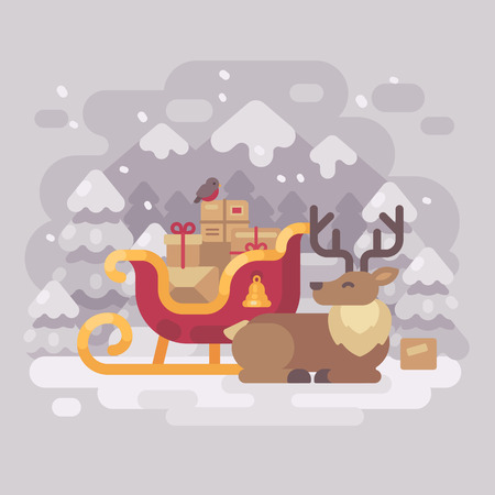 Cheerful Santa Claus reindeer lying down near sleigh with presents in a snowy winter mountain landscape. Christmas greeting card flat illustration