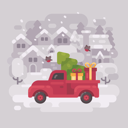 Red farm truck with a Christmas tree and presents driving through a small snowy winter town. Christmas card flat illustration Illustration