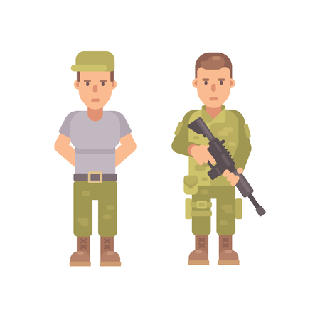 Soldier in a T-shirt and cap. Man in military uniform holding a rifle. Flat character illustration Illustration