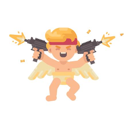 Cupido lindo en un frenesí de batalla disparando uzis duales en todas las direcciones. Ilustración de personaje plano del día de San Valentín Foto de archivo - 95134517