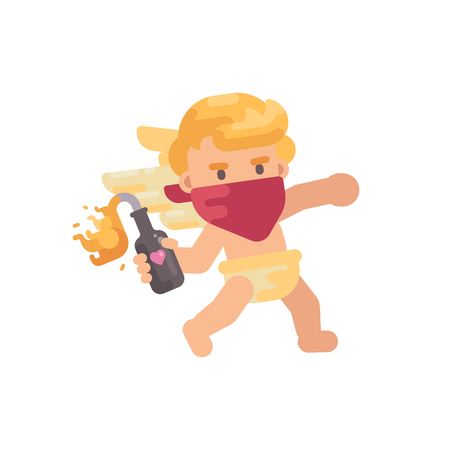 Cute rebel cupid in red face bandana throwing a Molotov cocktail. Valentines Day flat character illustration Vectores