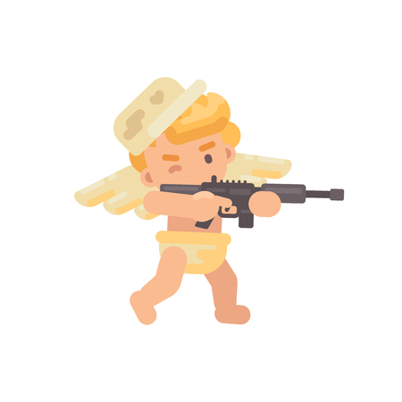 Cute cupid in a military cap shooting a rifle. Valentines Day flat character illustration Illustration