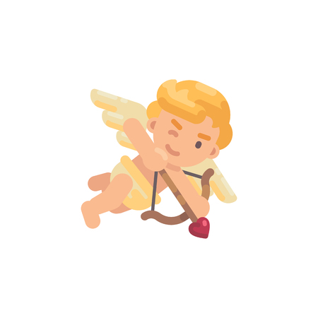 Cute cupid shooting his bow. Valentines Day flat character illustration Illustration