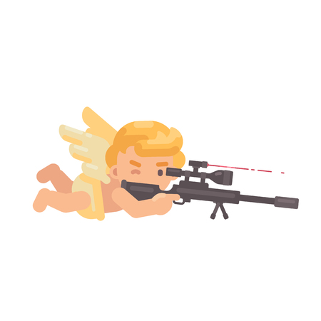 Cute cupid lying down shooting a sniper rifle. Valentines Day flat character illustration