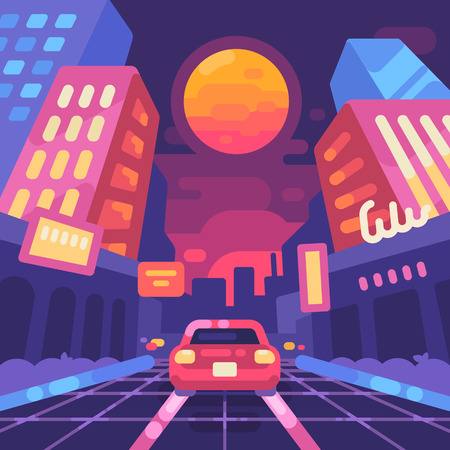 An illustration of night neon city street style with a futuristic cyber landscape Illustration