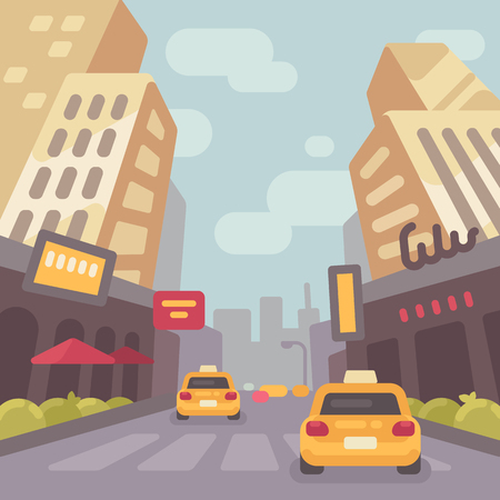 Modern city street with taxi cars and skyscrapers low perspective view. Vintage travel poster flat illustration