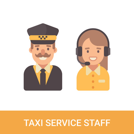 Taxi service staff flat characters. Taxi driver and dispatcher flat icons