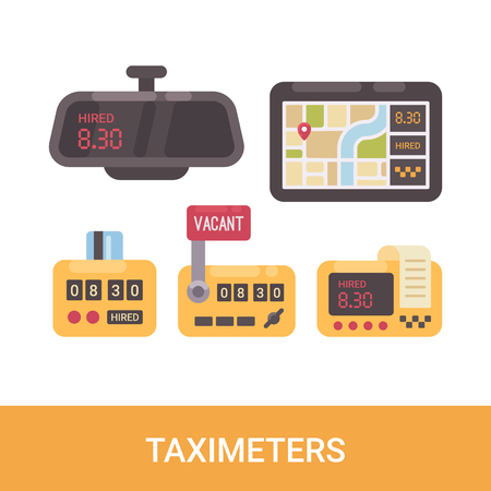 Set of various taximeters. Taxi service flat icons Illustration