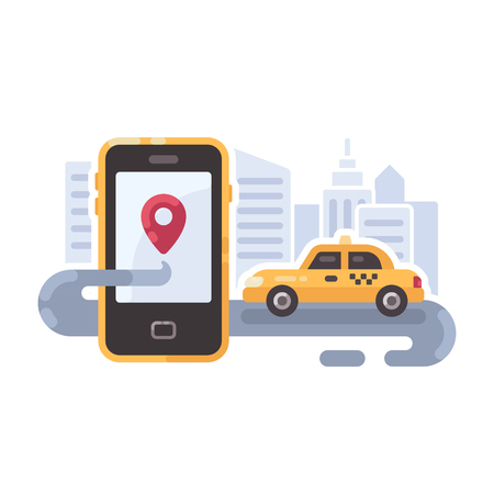 Yellow taxi car on the road with smartphone. Mobile taxi service flat illustration banner Illustration