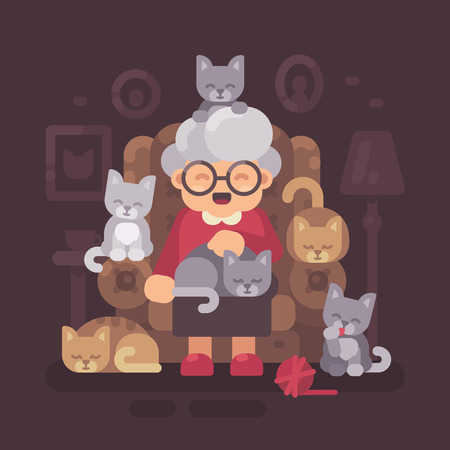 Cute granny sitting in armchair with her cats. Old cat lady with five kittens flat illustration Vettoriali