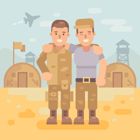Two happy soldier friends in a military camp flat illustration. Army scene background.