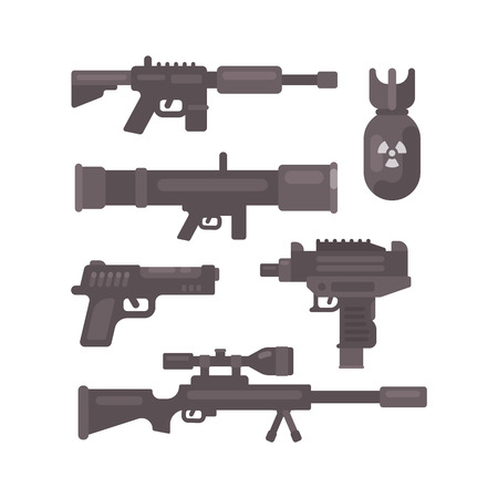 Set of weapon flat icons. Military ammunition collection.