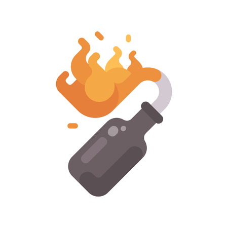 Burning Molotov cocktail bottle flat icon Illustration